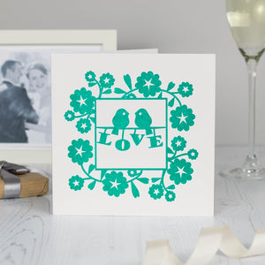 Lovebirds Wedding Anniversary Card Emerald Green