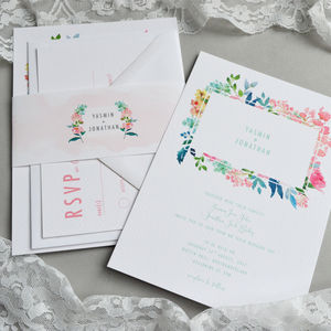 Floral Watercolour Wedding Invitation - invitations