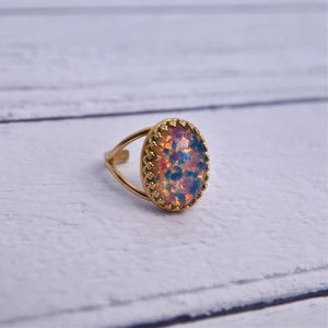 Pink And Blue Fire Opal Ring