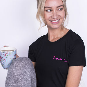 'Love' Neon Sign Loungewear Pyjama Set - wedding fashion