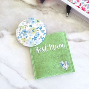 Mother's Day Pocket Mirror And Personalised Pouch