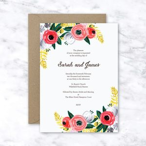 Lila Floral Hand Painted Wedding Invitation Set - invitations