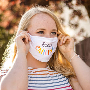 Charity 'Keep Smiling' Positivity Rainbow Face Mask
