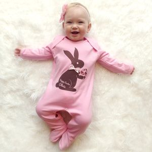 Personalised Easter Bunny Babygrow With Hand Sewn Bow - babygrows