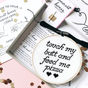 'Touch My Butt And Feed Me Pizza' Cross Stitch Kit - craft-lover