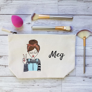 Miss Retro Cream Customised Cotton Canvas Cosmetic Bag