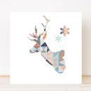 Stag Head Christmas Card Single Or Pack Of Six