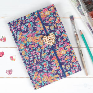 Personalised Liberty Print Fabric Notebook Gift For Her