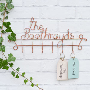 Personalised Family Name Wire Key Hook - bedroom