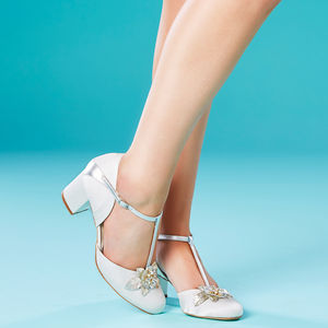 Monaco Ivory Satin Block Heel Wedding Shoes - bridal shoes