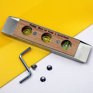 Personalised Oak And Steel Spirit Level - gifts for him