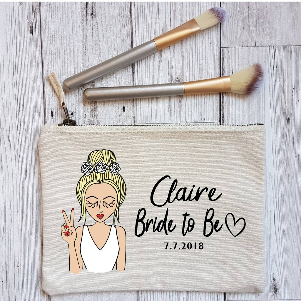 Bride To Be Personalised Bridal Shower Makeup Bag