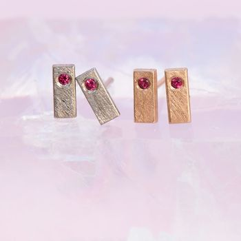 Ruby Mini Bar Studs In 18ct White Gold Or Platinum