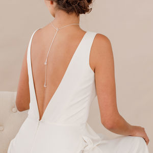 Crystal Back Drop Necklace Lariat For Wedding