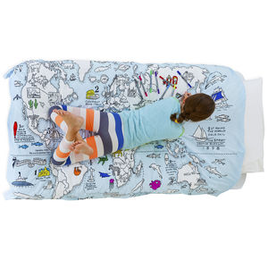 World Map Duvet Colour And Learn - bed linen