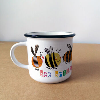 Personalised Bee Brilliant Mug - with wording 'bee brilliant'