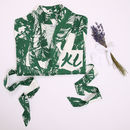 Personalised Screen Printed Leaf Green Dressing Gown