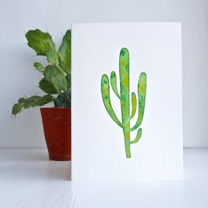 Handmade Cactus Original Watercolour Birthday Card - canvas prints & art