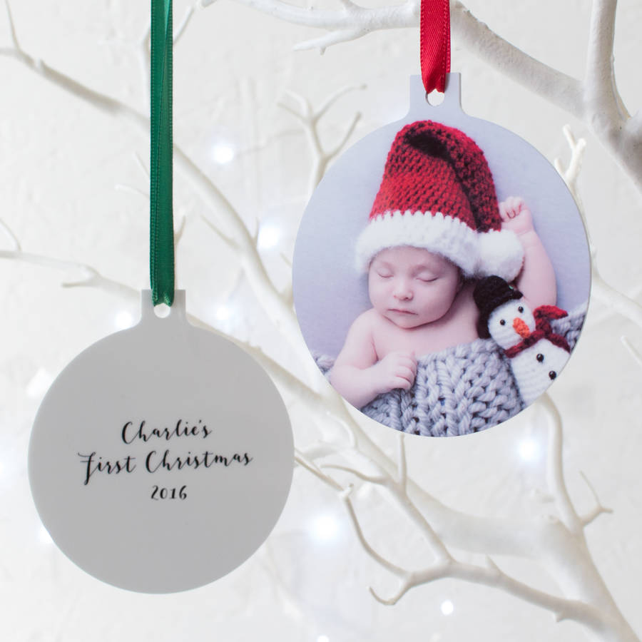 Personalised babys first christmas hanging decoration by for Babys first christmas decoration