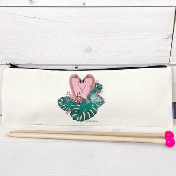 'Knitter By Nature' Knitting Flamingo Needle Bag