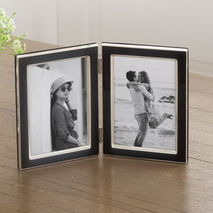 Black Enamel Hinged Double Photo Frame