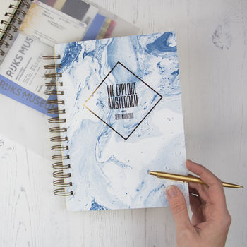 Personalised Marbled Travel Journal