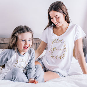 Personalised Family Winter Wreath Pyjamas - mother & child sets