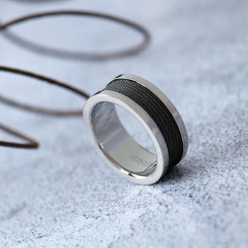 Mens Steel And Wire Band Ring