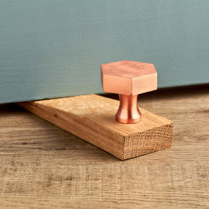 Solid Brushed Brass Copper Oak Wooden Door Stops