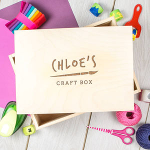 Personalised Engraved Children's Art And Craft Box - toy boxes & chests