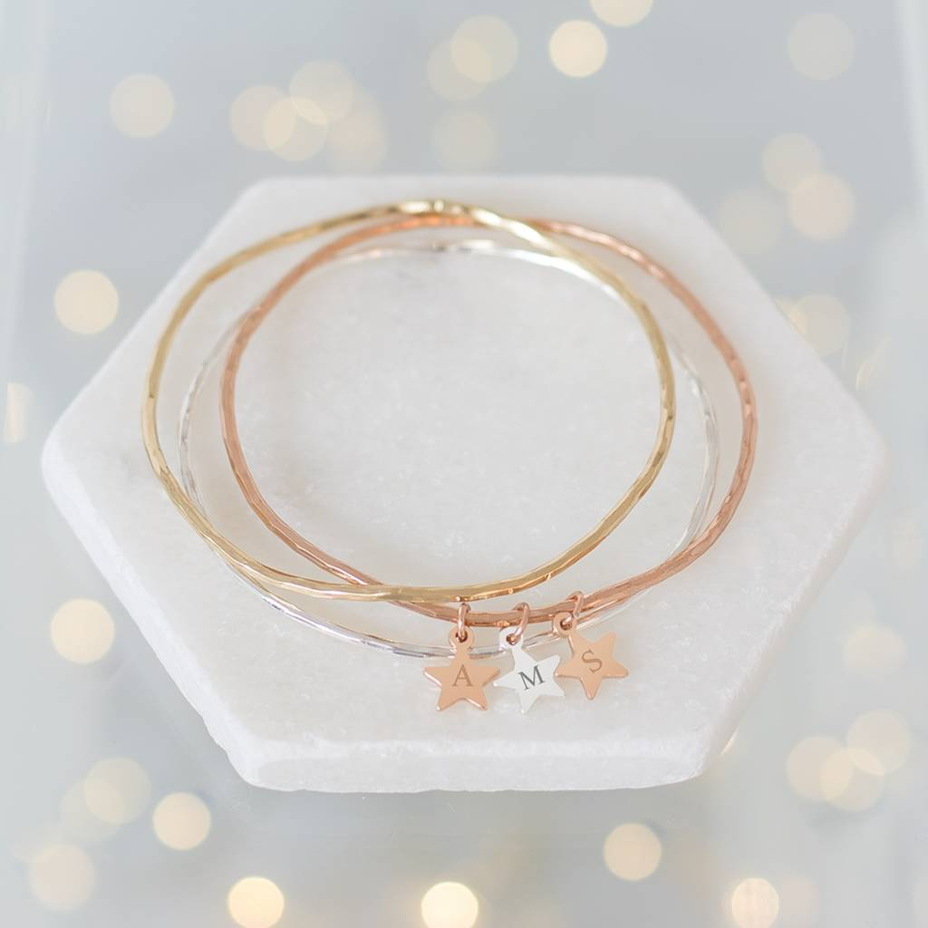 Personalised Mini Star Wave Bangle