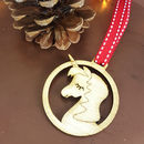 Unicorn Christmas Tree Bauble Set Of Four