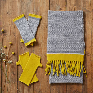 Grey And Yellow Scarf And Mitten Gift Set - gloves