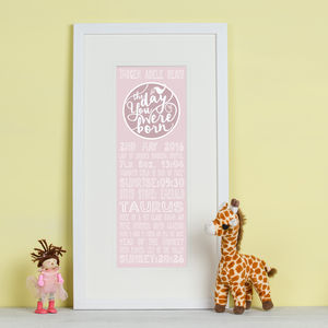 Personalised 'The Day You Were Born' Print - for under 5's