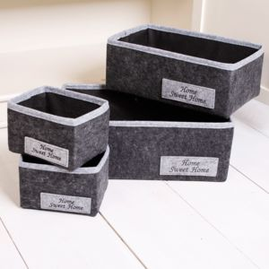 Set Of Four Grey Home Storage Baskets - breadbins