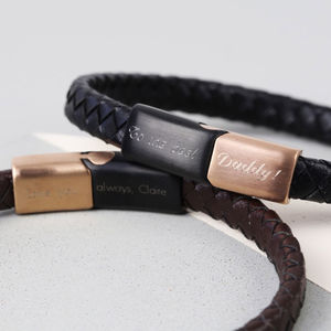 Men's Personalised Woven Bracelet With Brushed Clasp
