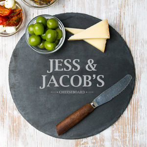 Personalised Couple's Round Cheese Board - dining room