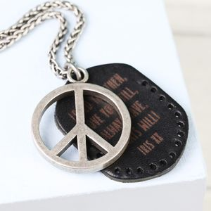 Men's Personalised Peace Sign And Leather Tag Necklace - necklaces