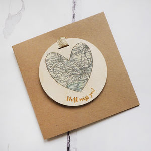 Personalised 'We'll Miss You' Map Keepsake Card