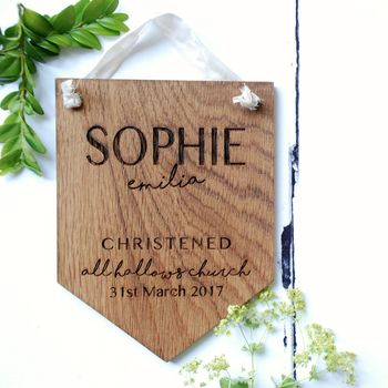 Personalised Oak Wood Christening Pennant Flag