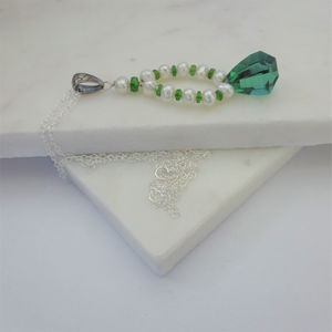 Green Quartz Chrome Diopside Pearl Necklace