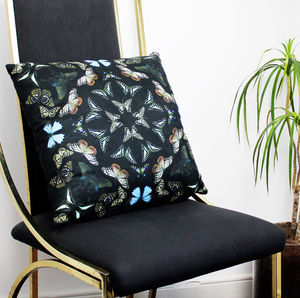 Black Butterfly Kaleidoscope Cushion - cushions