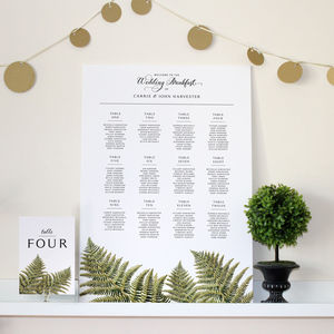 Woodland Fern Wedding Seating Chart - table plans