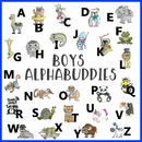 Boys Alphabet Illustration Tile On Easel Or Framed
