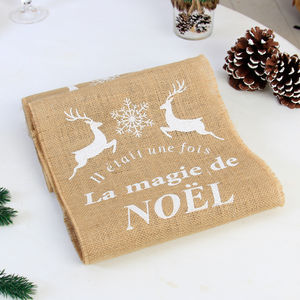 Magic Of Christmas French Jute Table Runner - table decorations