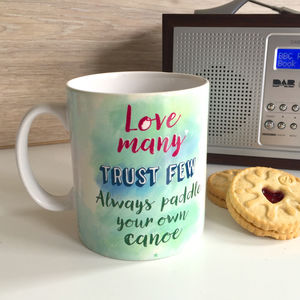 'Love Many' Quote Watercolour Mug