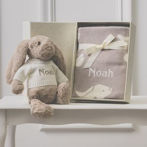 Personalised Beige Bashful Blanket And Bunny Baby Set