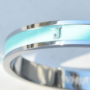 Handmade Personalised Solid Initial Bangle Silver - bracelets & bangles
