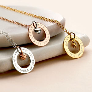 Personalised Circle Charm Necklace - gifts for her