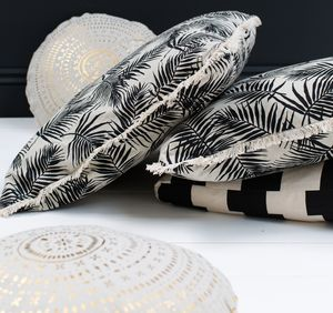 Tropical Print Black And White Cushion - cushions